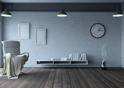 chair in modern apartment setting